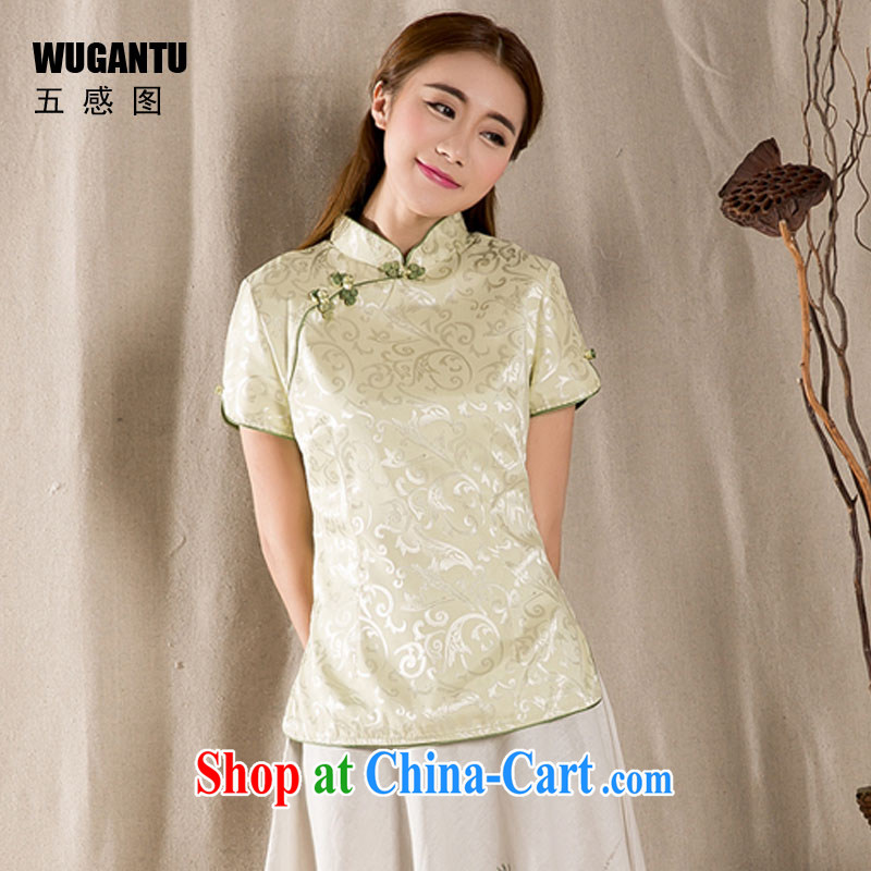 5 AND THE 2015 spring and summer New-snap embroidery female T-shirt China wind women antique Chinese WGTZ 1213 green XXL