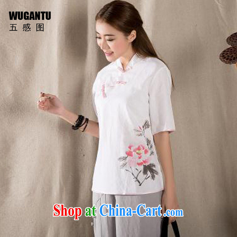 5 AND THE 2015 spring and summer new cotton Ma hand-painted antique art Chinese improved Chinese T-shirt retro art T-shirt WGTZ 1217 white XXL