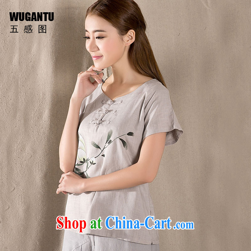 5 AND THE 2015 spring and summer new antique Chinese female improved fashion cheongsam shirt cotton Ms. Yau Ma Tei Chinese WGTZ 1220 gray XXL