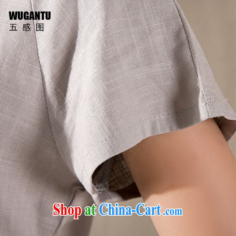 5 AND THE 2015 spring and summer new antique Chinese female improved stylish dresses T-shirt cotton Ms. Yau Ma Tei Chinese WGTZ 1220 gray XXL, sense 5 (WUGANTU), online shopping