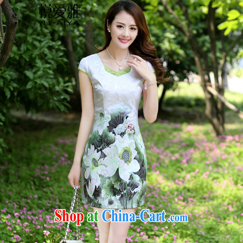 Yue loved Jacob _YUEAIYA_ 2015 new summer women dress short-sleeved beauty stamp National wind cheongsam package and dresses DR 66,593 emerald L