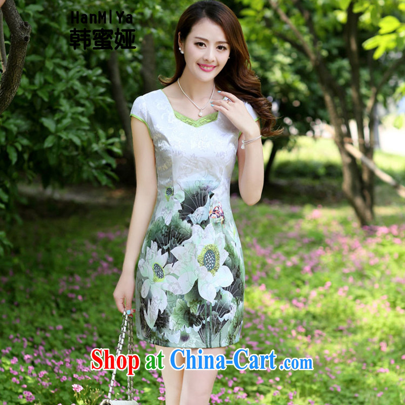 Korean honey Julia _HanMiYa_ 2015 new summer women dress short-sleeved beauty stamp National wind cheongsam package and dresses DR 66,593 emerald XXXL
