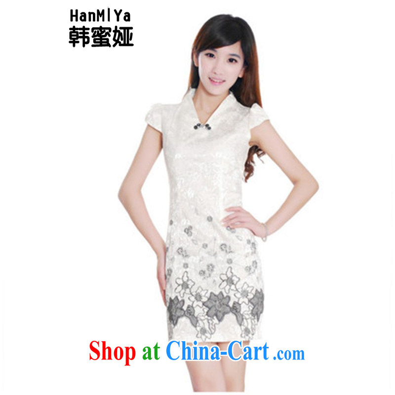 Korean honey Julia (HanMiYa) 2015 summer Stylish retro improved cheongsam short bubble sleeves package and dresses DR 11,203 white XXL