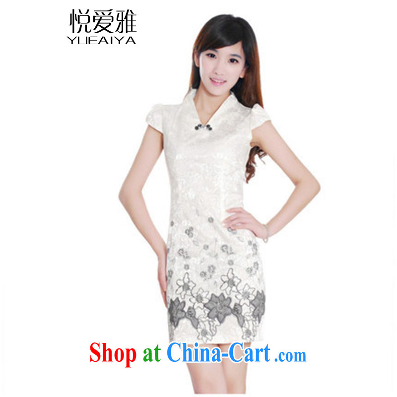 Yue loved Jacob _YUEAIYA_ 2015 summer Stylish retro improved cheongsam short bubble sleeves package and dresses DR 11,203 white XXL