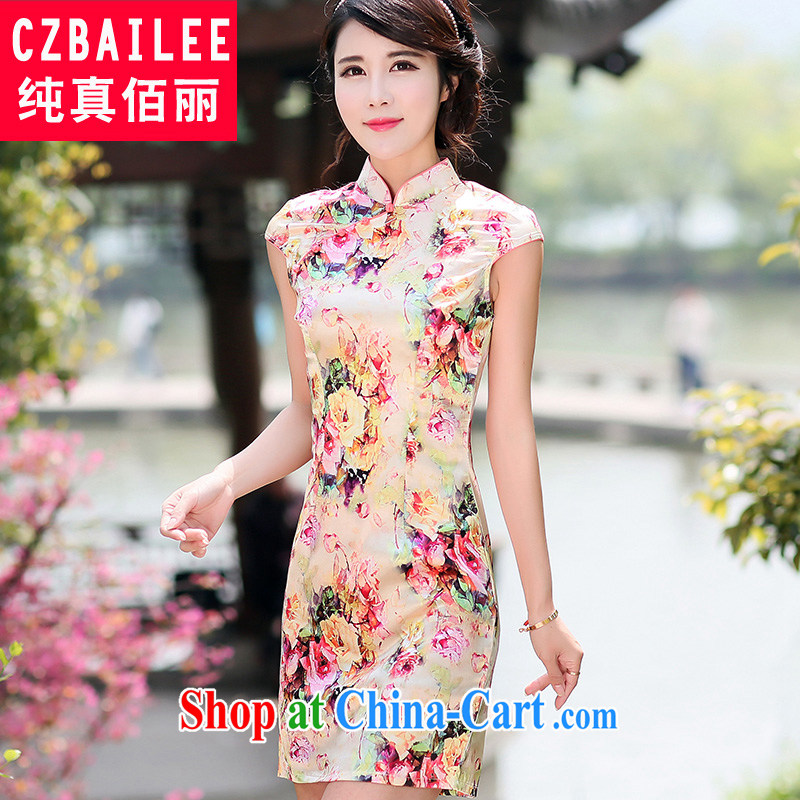Jin Bai, Mrs Tang Women's clothes dresses summer graphics gaunt-style summer short sleeve cheongsam improved skirt retro stamp dresses M