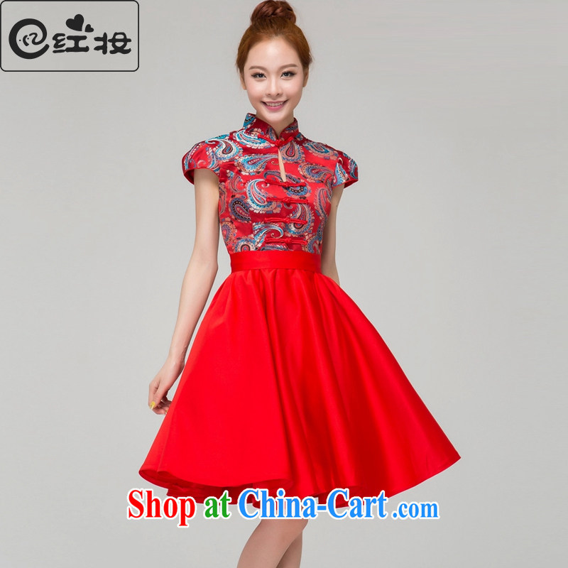 Recall that the Red Cross Princess makeup style fashion style beauty wedding dresses bridal wedding toast clothing cheongsam dress Q 13,640 red XL