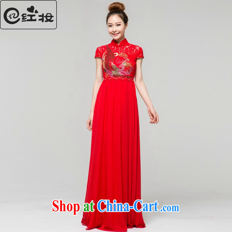 Recall that the red makeup high waist pregnant women long dresses, bridal Wedding Fashion improved cheongsam dress bows beauty graphics thin Q 13,671 red XL
