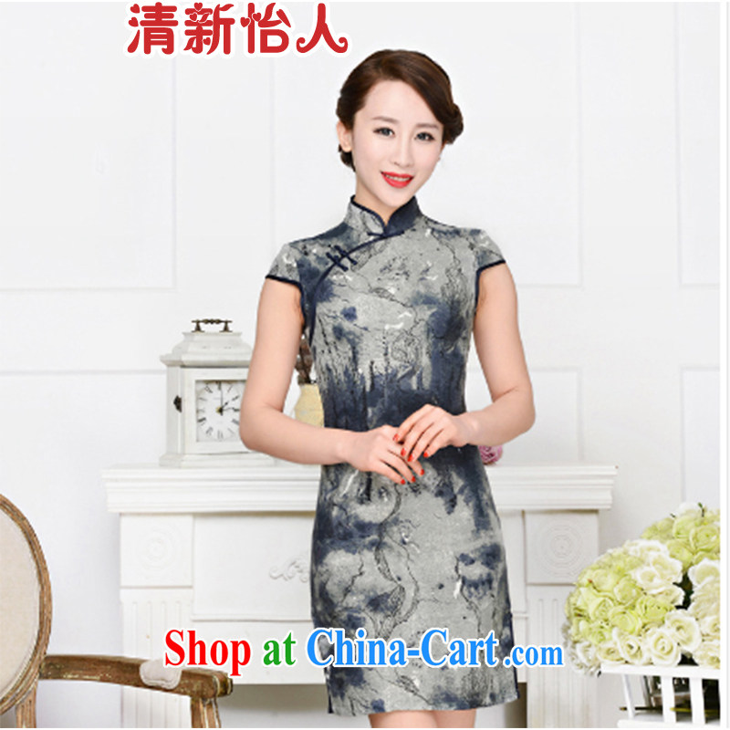 Refreshing new Ethnic Wind and elegant low-power on the forklift truck serving toast improved cheongsam dress summer T-shirt dresses female gray and navy suits XL