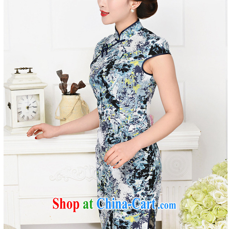 Refreshing new Ethnic Wind elegant low the forklift truck serving toast improved cheongsam dress summer T-shirt dresses female Tibetan youth package for Tibetan blue floral XL pictures, price, brand platters! Elections are good character, the national distribution, so why buy now enjoy more preferential! Health