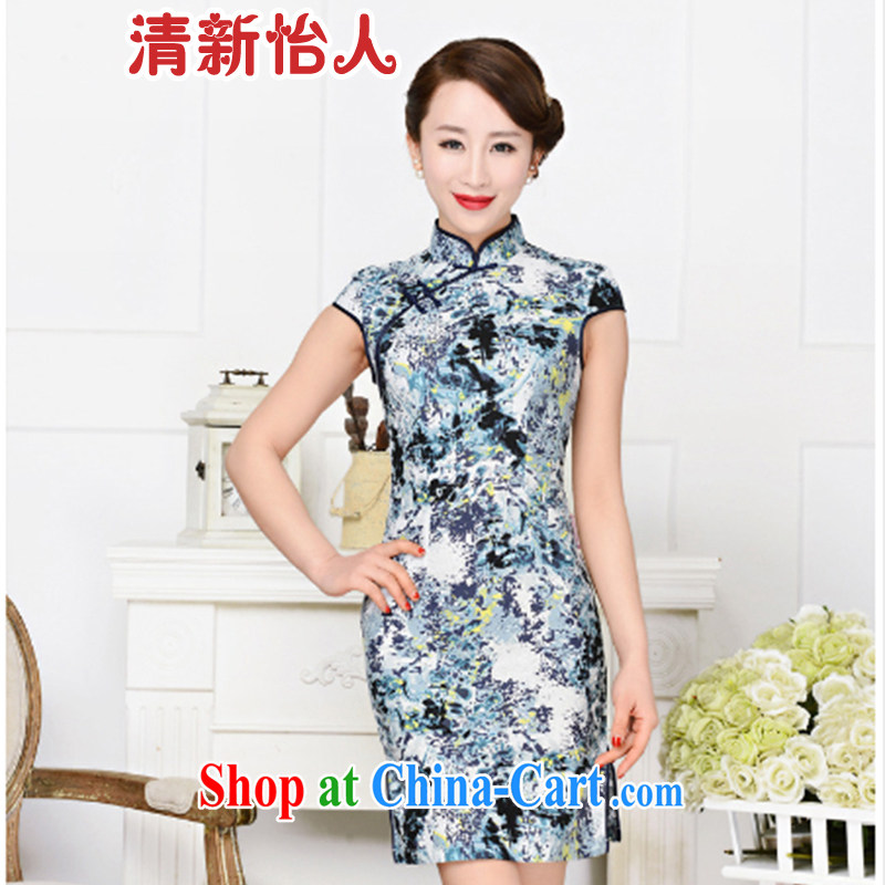 Refreshing new Ethnic Wind elegant low the forklift truck serving toast improved cheongsam dress summer T-shirt dresses female Tibetan youth package for Tibetan blue floral XL