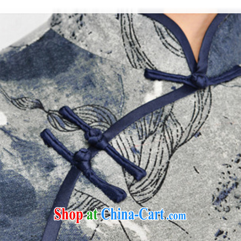 Refreshing new Ethnic Wind elegant low the forklift truck serving toast improved cheongsam dress summer T-shirt dresses female Tibetan youth package for Tibetan blue floral XL, fresh air, and, on-line shopping