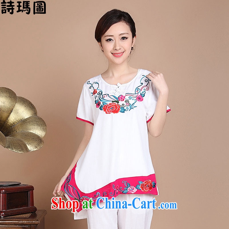 HYMN Sodom and Pratt 2015 summer National wind Chinese Embroidery and T-shirt beauty embroidered short sleeve cotton shirt T-shirt woman white XXXL
