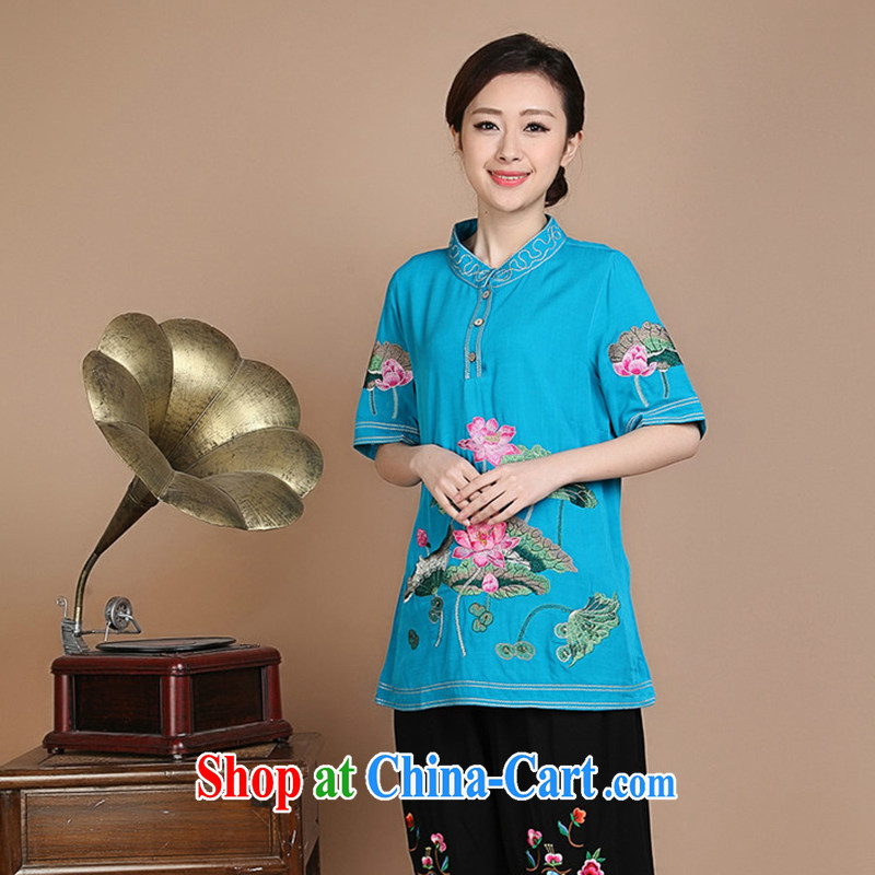 HYMN Sodom and Pratt 2015 summer new ethnic wind Lotus embroidery, older mothers in long summer short sleeve shirt T blue XXXL