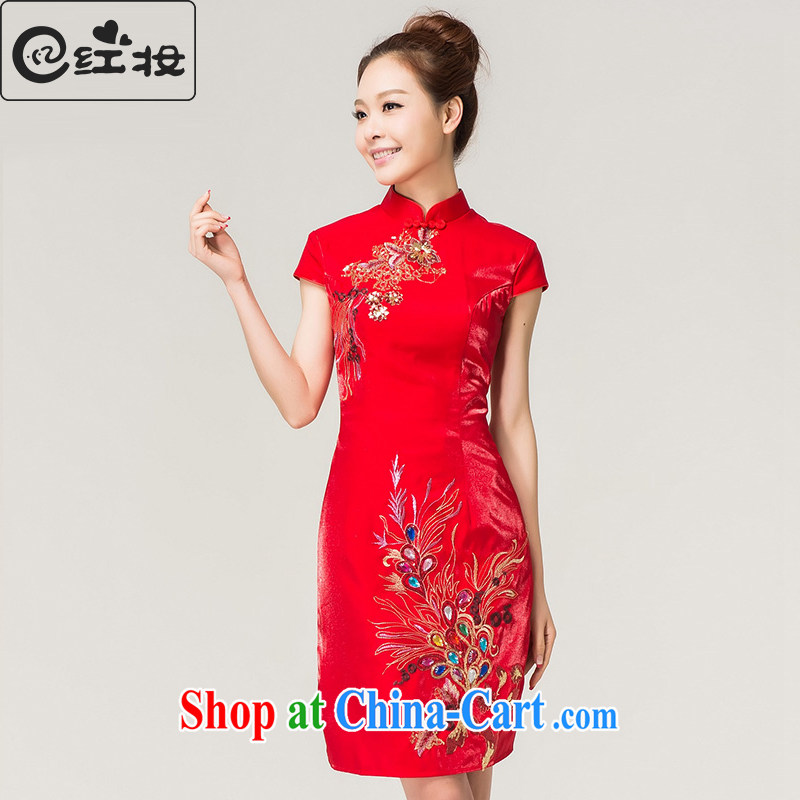 Recall that the red makeup short-sleeved beauty wedding dresses stylish bridal toast clothing retro improved Chinese wedding dress Q 13,607 red XL