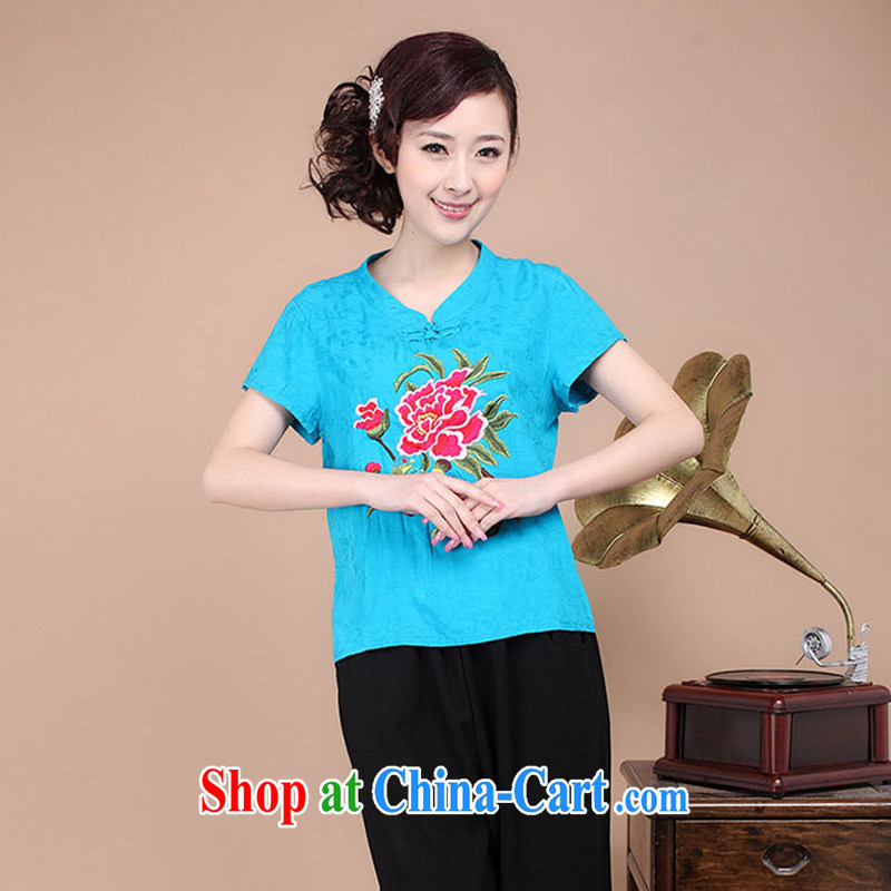 2015 New National wind women summer embroidery antique style Chinese beauty T-shirt cool embroidered short sleeved T-shirt blue XXXL