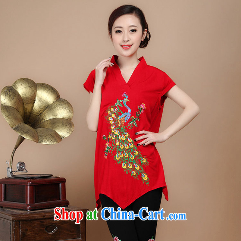 The old Summer retro Peacock embroidery Tang fitted T-shirt loose larger cotton T-shirts female Red XXXL