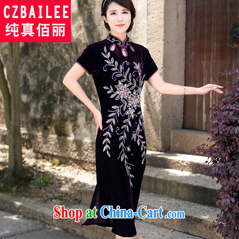 Jin Bai Lai improved cheongsam dress summer high-end gold velour short-sleeved manually insert drill stretch retro style dresses Tang Women's clothes 4 XL