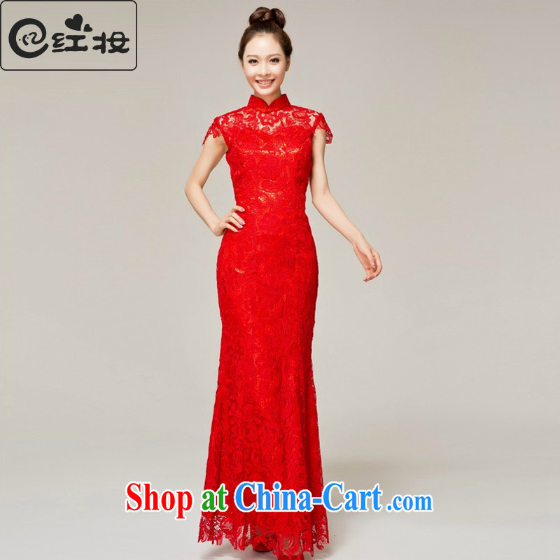 Recall that the red makeup bridal dresses spring and summer bridal toast clothing wedding dress red long lace antique dresses Q 13,614 red XL