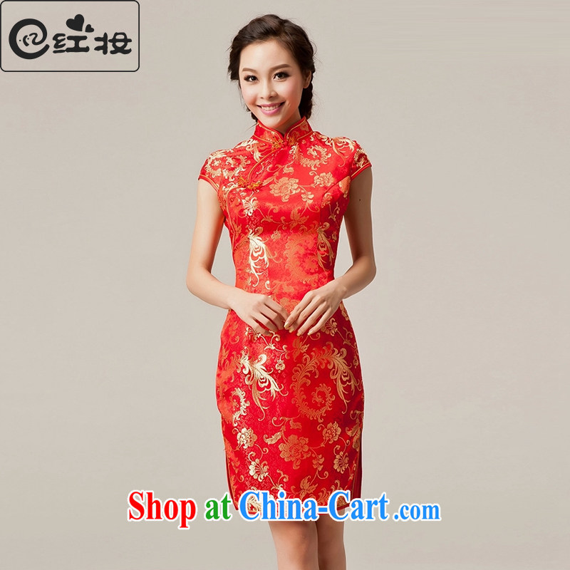 Recall that Namibia Red Cross 2015 spring and summer new marriages, short cheongsam dress stylish improved Chinese bows Q serving 10,021 red XL