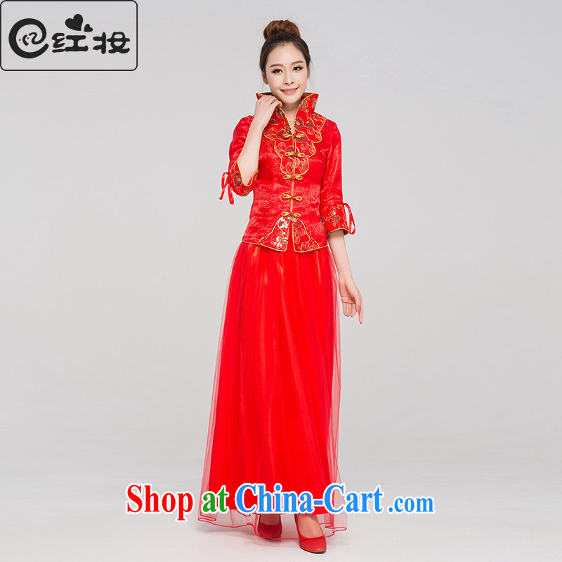 Recall that the red makeup spring new bridal dresses red long marriage toast clothing retro long-sleeved improved cheongsam Q 13,688 red XL
