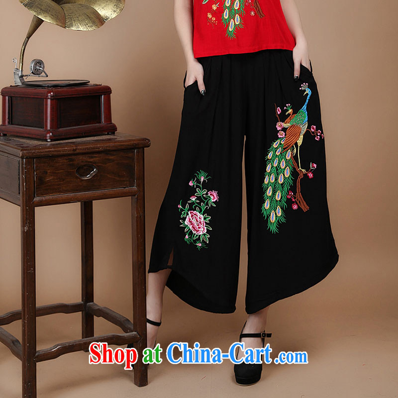 HYMN Sodom and diagrams in 2015 older summer new, 7 female trousers elasticated waist cotton embroidered ethnic wind large skirts trousers black XXL