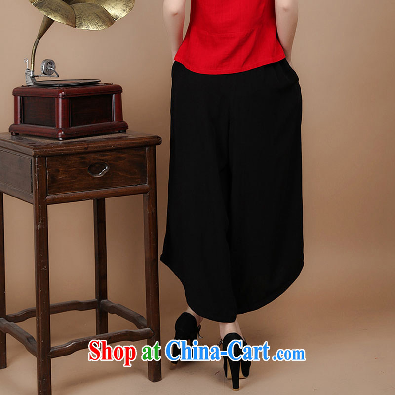 HYMN Sodom and diagrams in 2015 older summer new, 7 female trousers elasticated waist cotton embroidered ethnic wind large skirts trousers black XXL Hymn, Sodom and Pratt, shopping on the Internet