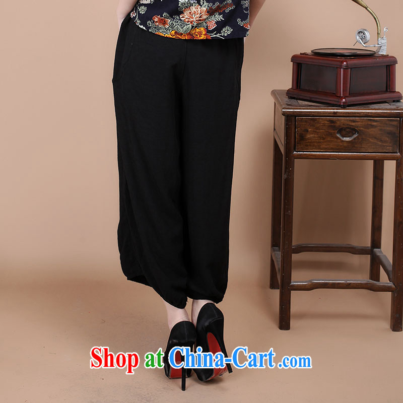 HYMN Sodom and Pratt summer 2015 new Chinese Ethnic Wind mother with leisure beauty retro Tang pants embroidered rug pants female black XXL Hymn, Sodom and diagrams, and shopping on the Internet