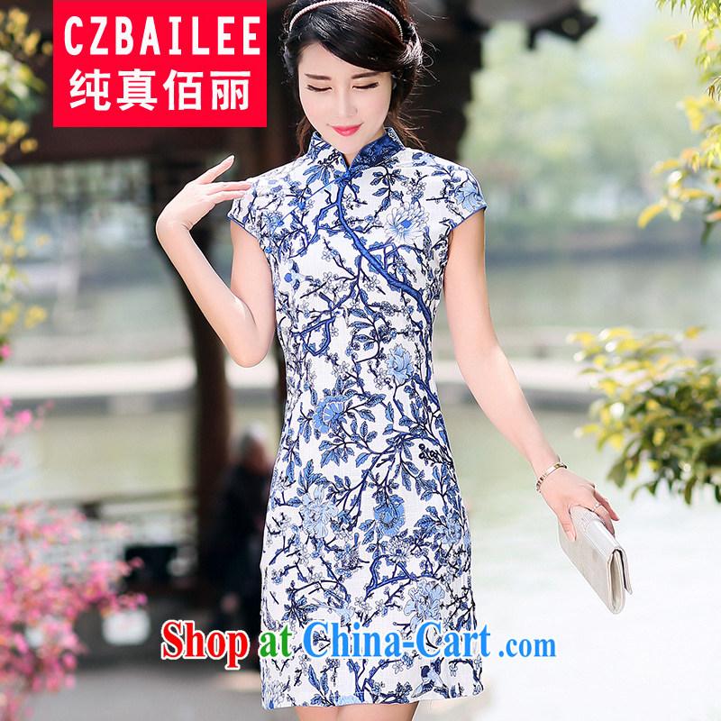 Jin Bai Lai improved cheongsam summer blue and white porcelain dresses Korean Beauty cotton the female short-sleeve retro dress dresses 4 XL