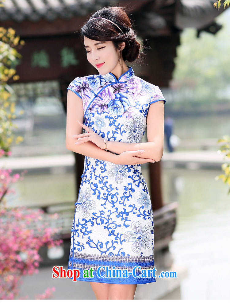 Jin Bai Lai antique dresses short skirt with classic improved cheongsam beauty graphics thin short-sleeve dress cotton the toasting service dress 4 XL pictures, price, brand platters! Elections are good character, the national distribution, so why buy now enjoy more preferential! Health