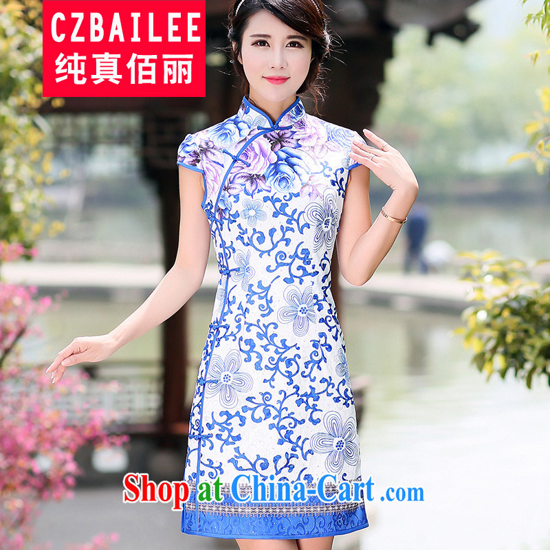 Jin Bai Lai antique dresses short skirt with classic improved cheongsam beauty graphics thin short-sleeve dress cotton the toasting service dress 4 XL