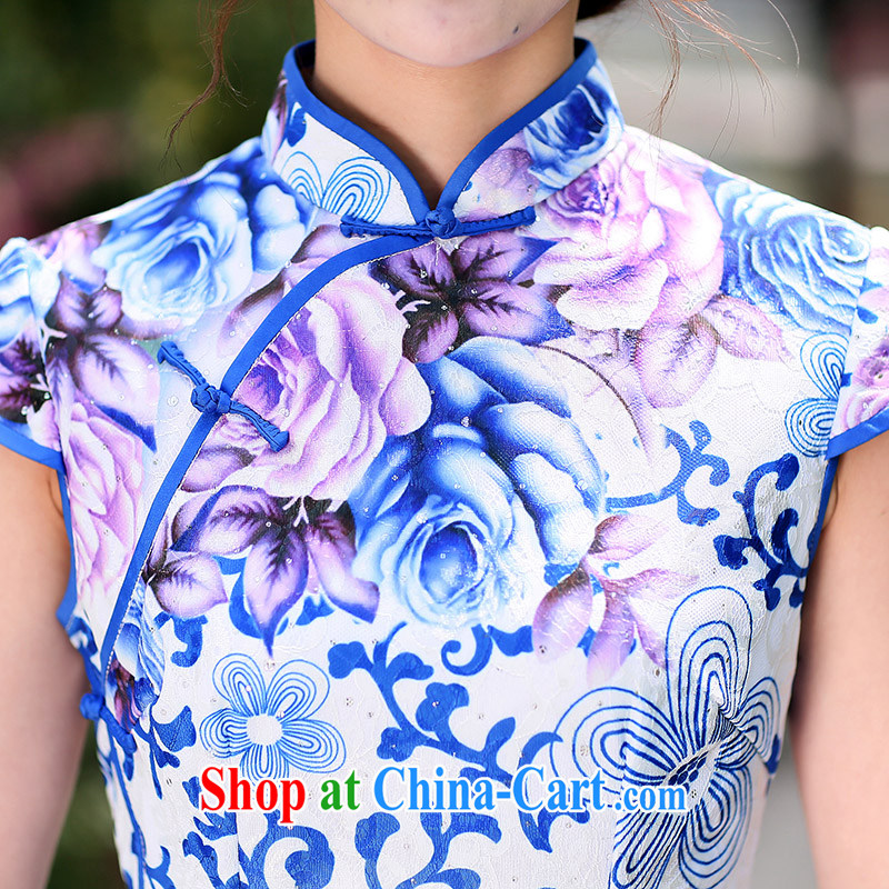 Jin Bai Lai antique dresses skirt Chinese classical improved cheongsam beauty graphics thin short-sleeve dress cotton the toasting service dress 4 XL idealistically Bai Lai (C . Z . BAILEE), online shopping