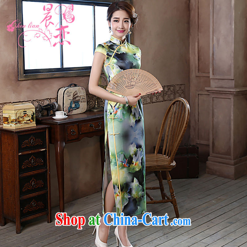 Morning love 2015 summer new improved stylish retro long cheongsam dress lace daily dresses green edge green L