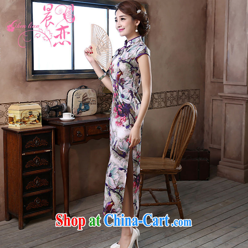Morning love 2015 summer new improved stylish retro long cheongsam dress everyday dresses Magnolia purple XXL