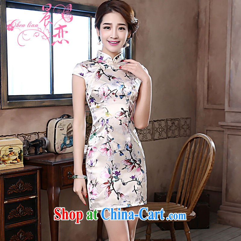 Morning love 2015 summer new improved stylish retro short cheongsam dress everyday dresses Magnolia light gray 155_S