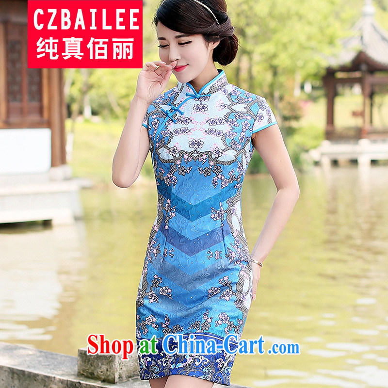 Jin Bai Lai girls dresses new cotton Ma high-end aura video thin beauty short-sleeved summer cheongsam dress improved Tang fitted dresses 4 XL