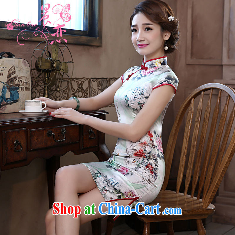 Morning, dresses new 2015 summer retro short-sleeved improved stylish sauna silk heavy Silk Cheongsam dress green Peony floral 155_S