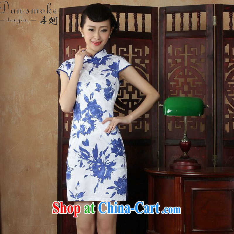 Dan smoke everyday dresses summer new women's clothing cheongsam dress Chinese improved, for cultivating blue and white porcelain goods such as the color 2 XL