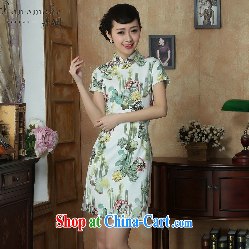 Take the Chinese improved retro dresses Women's clothes summer new, for a tight retro elegant short cheongsam as shown color 2 XL