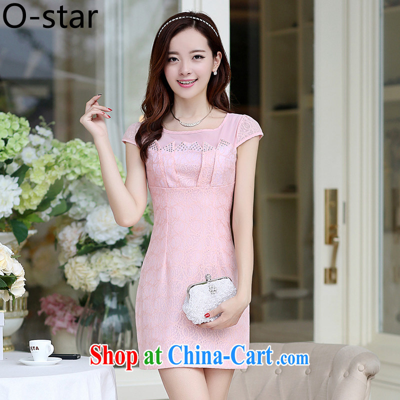 O - Star 2015 summer new ladies dress improved stylish and elegant dress short, Retro daily cotton dresses skirt pink XXL