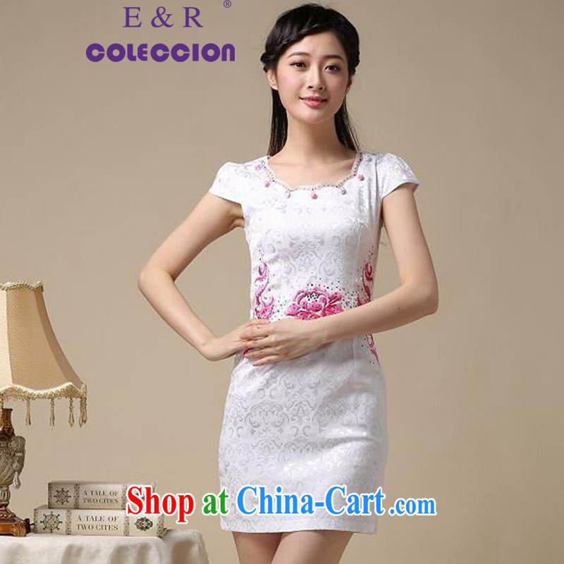 2015 new spring and summer white embroidery jacquard cotton retro improved cheongsam dress style female pink S