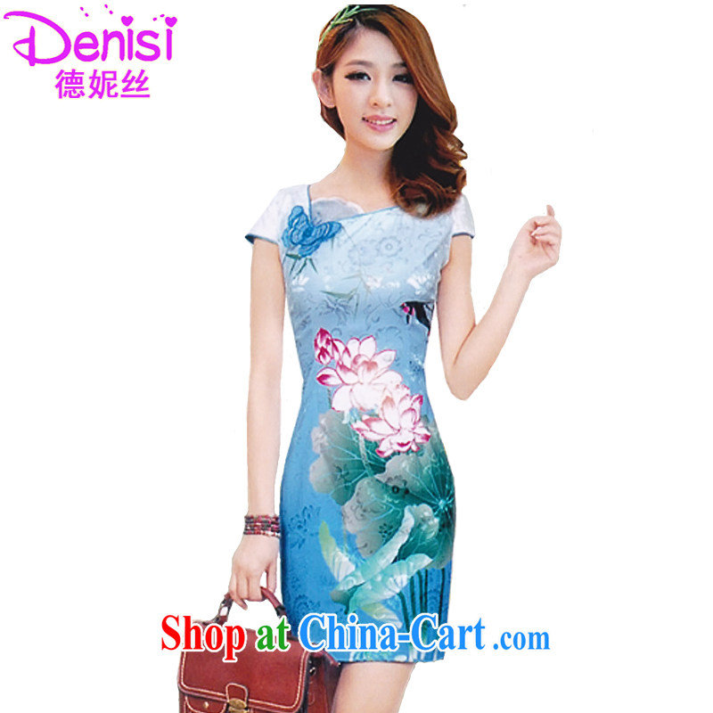 Connie, population 2015 summer dresses, stylish beauty Lotus the gradient improved fashion cheongsam dress 1569 color blue XL