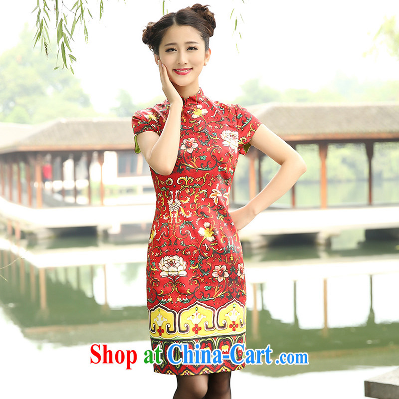 The Cayman 2015 new stylish sauna Silk Cheongsam silk cultivation in elegant long cheongsam noble take XL
