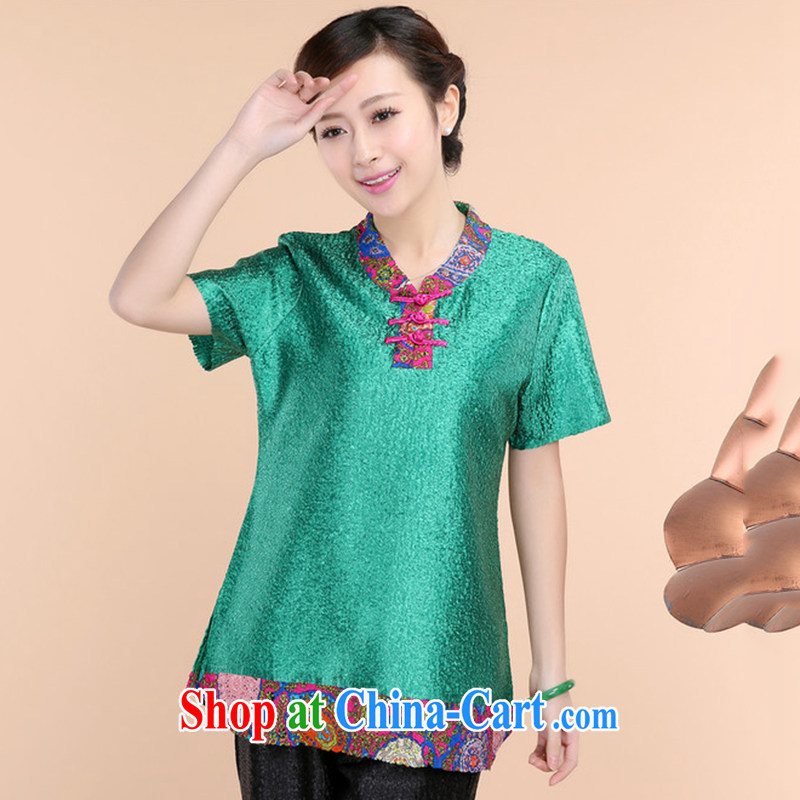 HYMN Sodom and Pratt 2015 spring and summer new high-end silk wrinkled mother loaded the code short-sleeve T-shirt green XXXL