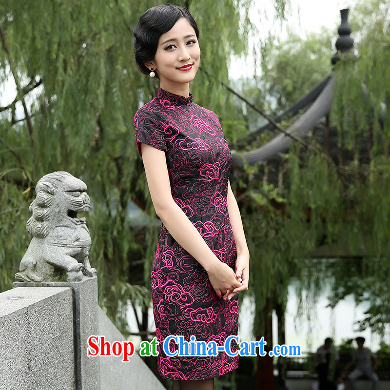The Cayman 2015 new stylish sauna Silk Cheongsam silk cultivation China National wind cheongsam embroidered Xiangyun XL