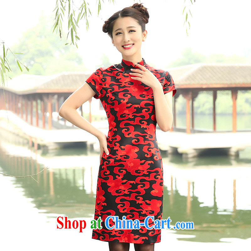 The Cayman 2015 New Silk sauna Silk Cheongsam, stamp duty for red Xiangyun XL
