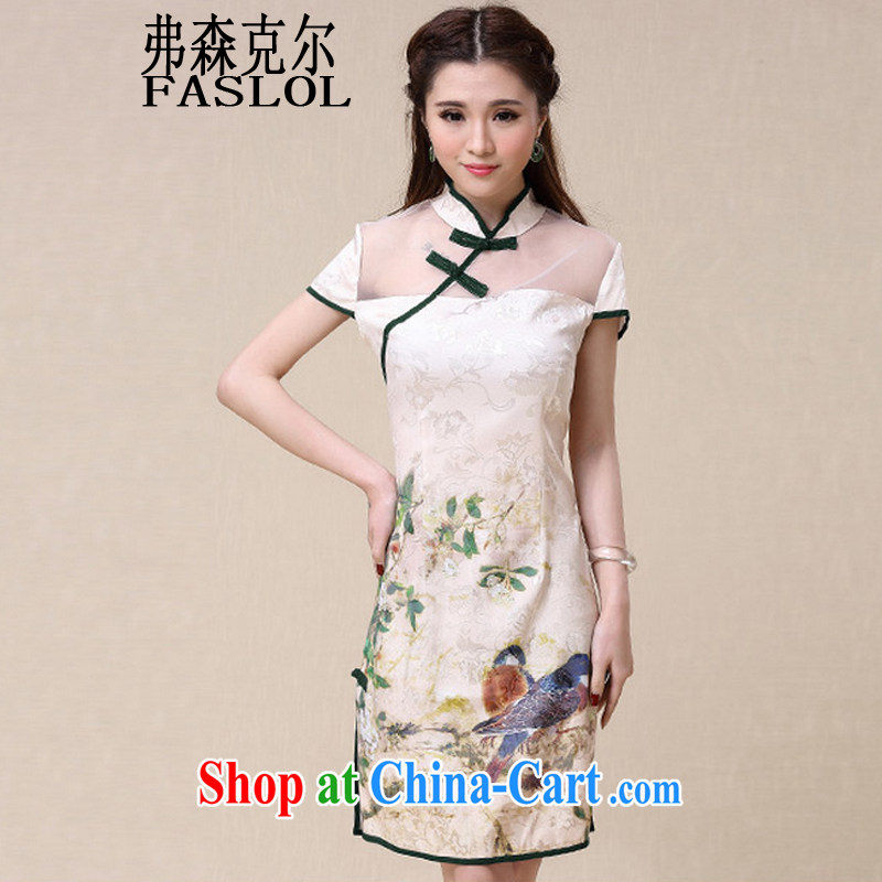 Frank, Michael 2015 spring and summer New China wind National wind cultivating high-end elegant dresses cheongsam dress Map Color XXL