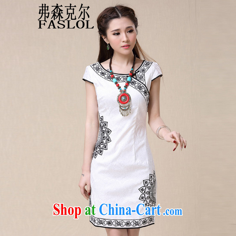 Frank, Michael 2015 spring and summer winds China National wind elegant embroidery, cheongsam dress 8963 white XXL