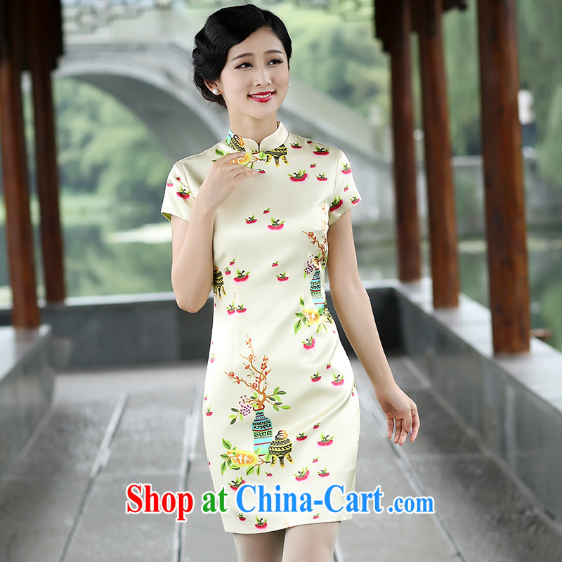 The Cayman 2015 summer new cheongsam stylish sauna silk silk cultivation and elegant qipao Sin mahogany XL