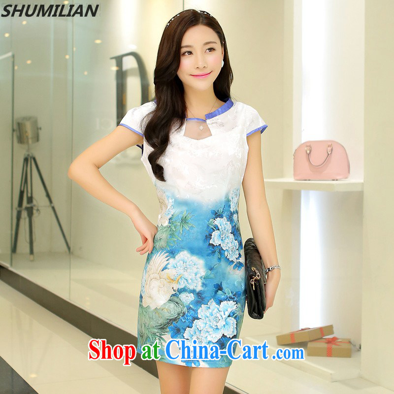 Mrs M land 2015 summer new trendy elegance beauty cheongsam dress light blue Peony XL