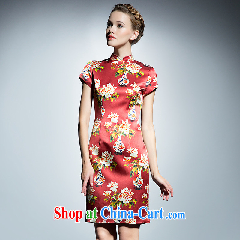 The Cayman 2015 new stylish stamp cheongsam silk sauna beauty antique vases flower cheongsam XL